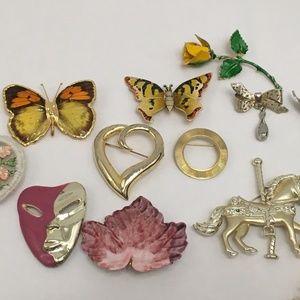 Jewelry - Costume Jewelry 13 Vintage Pin Rhinestones Enamel